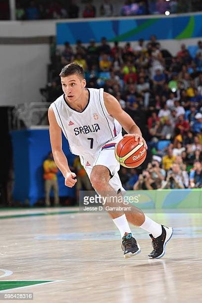 Bogdan Bogdanovic of Serbia drives to the basket against the USA Basketball Men's National Team during the Gold Medal Game on Day 16 of the Rio 2016...