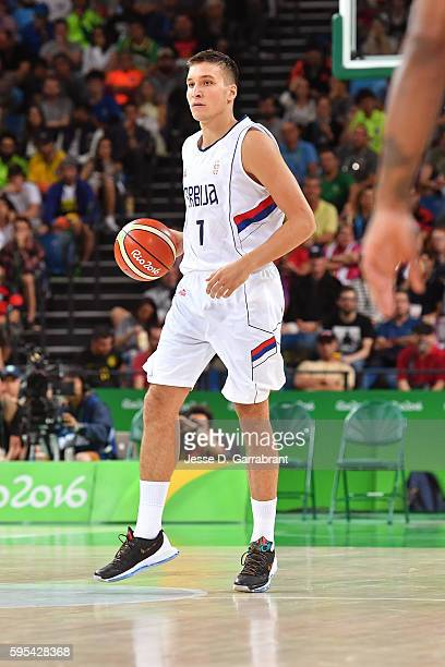 Bogdan Bogdanovic of Serbia handles the ball against the USA Basketball Men's National Team during the Gold Medal Game on Day 16 of the Rio 2016...