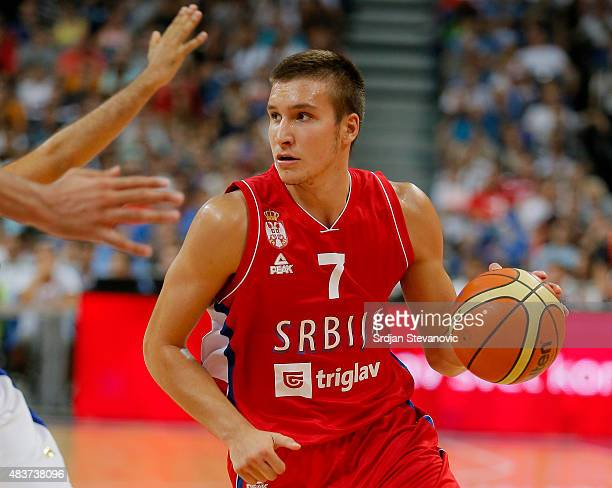 Bogdan Bogdanovic of Serbia in action during the International friendly basketball match between Serbia and France at Kombank Arena on August 12 2015...