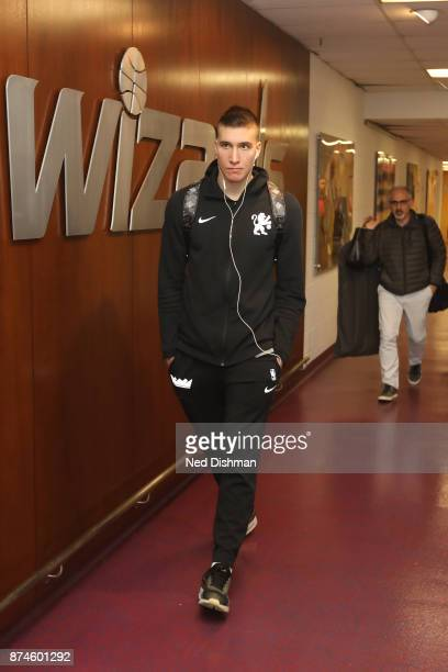 Bogdan Bogdanovic of the Sacramento Kings arrives at the arena before the game against the Washington Wizards on November 13 2017 at Capital One...