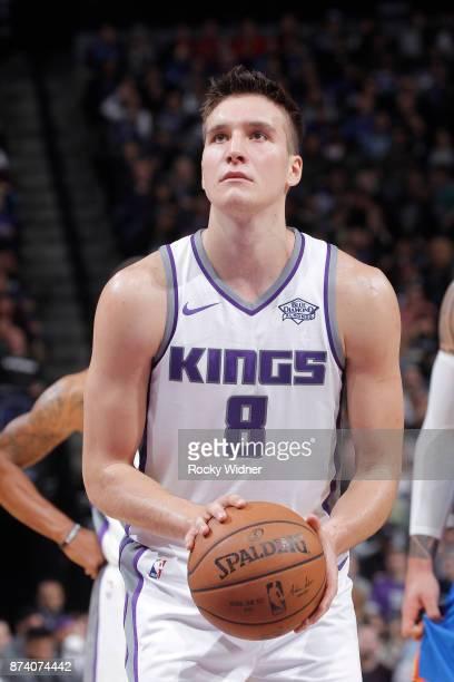 Bogdan Bogdanovic of the Sacramento Kings attempts a freethrow shot against the Oklahoma City Thunder on November 7 2017 at Golden 1 Center in...