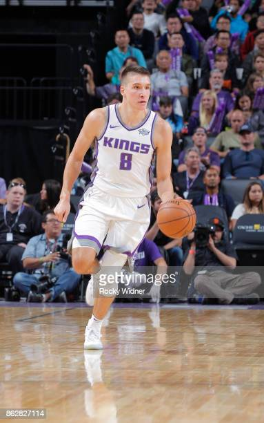 Bogdan Bogdanovic of the Sacramento Kings brings the ball up the court against the San Antonio Spurs on October 2 2017 at Golden 1 Center in...