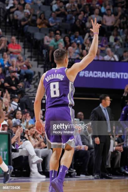 Bogdan Bogdanovic of the Sacramento Kings celebrates against the Washington Wizards on October 29 2017 at Golden 1 Center in Sacramento California...