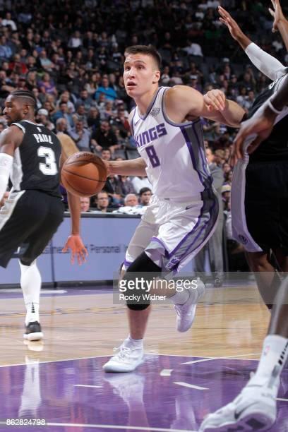 Bogdan Bogdanovic of the Sacramento Kings drives against the San Antonio Spurs on October 2 2017 at Golden 1 Center in Sacramento California NOTE TO...