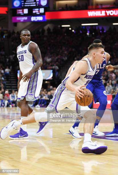 Bogdan Bogdanovic of the Sacramento Kings drives towards the basket with the ball against the Philadelphia 76ers during an NBA basketball game at...
