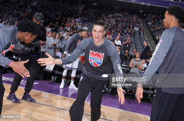 Bogdan Bogdanovic of the Sacramento Kings gets introduced into the starting lineup against the Philadelphia 76ers on November 9 2017 at Golden 1...