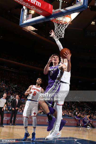 Bogdan Bogdanovic of the Sacramento Kings goes for a lay up against the New York Knicks on November 11 2017 at Madison Square Garden in New York City...