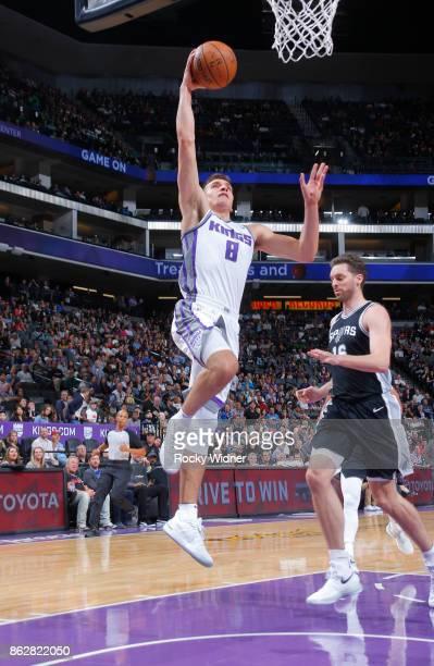 Bogdan Bogdanovic of the Sacramento Kings goes up for the shot against the San Antonio Spurs on October 2 2017 at Golden 1 Center in Sacramento...