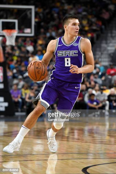 Bogdan Bogdanovic of the Sacramento Kings handles the ball against the Los Angeles Lakers during a preseason game on October 8 2017 at TMobile Arena...