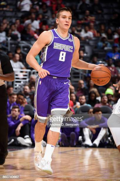 Bogdan Bogdanovic of the Sacramento Kings handles the ball against the LA Clippers on October 12 2017 at STAPLES Center in Los Angeles California...