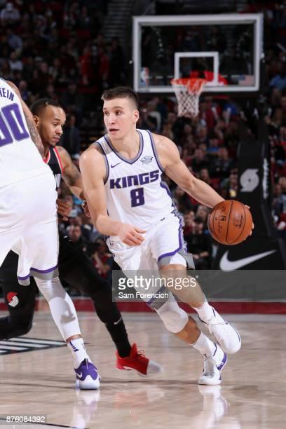 Bogdan Bogdanovic of the Sacramento Kings handles the ball against the Portland Trail Blazers on November 18 2017 at the Moda Center in Portland...