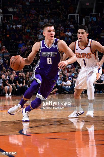 Bogdan Bogdanovic of the Sacramento Kings handles the ball during the game against the Phoenix Suns on October 23 2017 at Talking Stick Resort Arena...