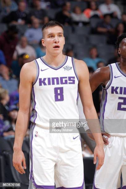 Bogdan Bogdanovic of the Sacramento Kings looks on during the game against the San Antonio Spurs on October 2 2017 at Golden 1 Center in Sacramento...