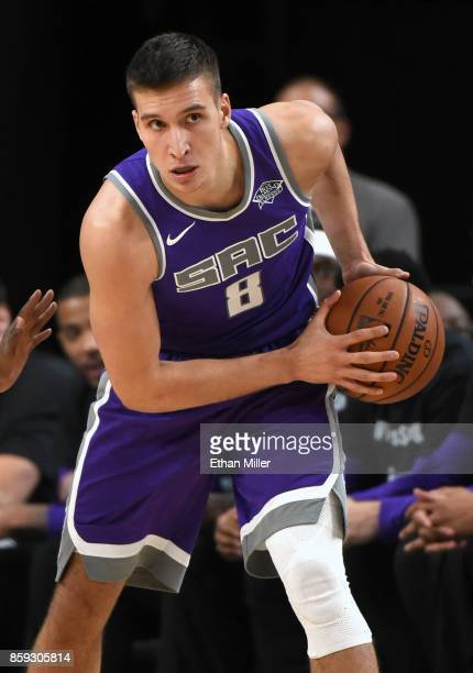 Bogdan Bogdanovic of the Sacramento Kings looks to pass against the Los Angeles Lakers during their preseason game at TMobile Arena on October 8 2017...