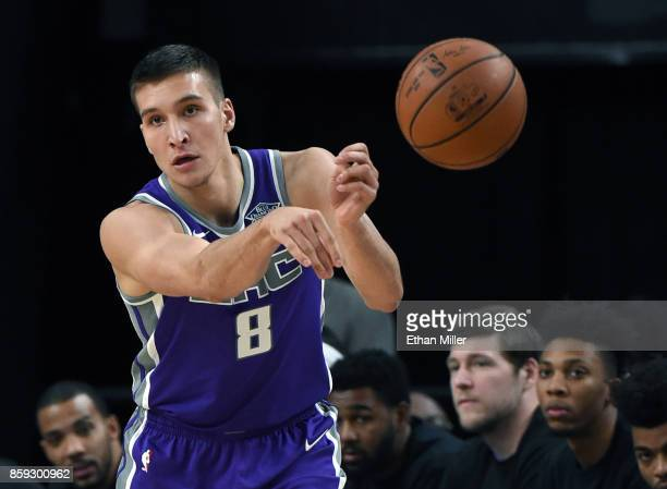 Bogdan Bogdanovic of the Sacramento Kings passes against the Los Angeles Lakers during their preseason game at TMobile Arena on October 8 2017 in Las...