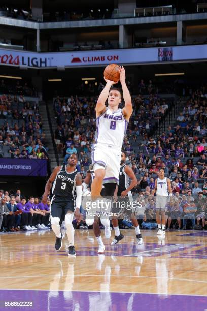 Bogdan Bogdanovic of the Sacramento Kings shoots the ball against the San Antonio Spurs during the preseason game on October 2 2017 at Golden 1...