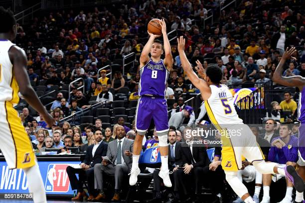 Bogdan Bogdanovic of the Sacramento Kings shoots the ball against the Los Angeles Lakers during a preseason game on October 8 2017 at TMobile Arena...