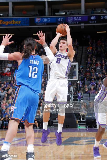 Bogdan Bogdanovic of the Sacramento Kings shoots the ball against the Oklahoma City Thunder on November 7 2017 at Golden 1 Center in Sacramento...