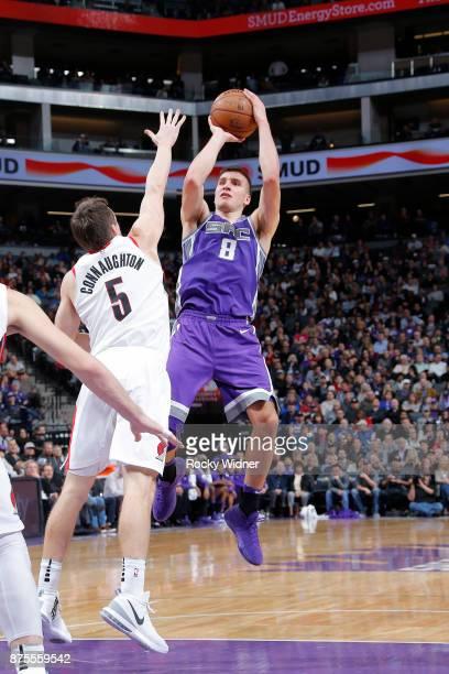 Bogdan Bogdanovic of the Sacramento Kings shoots the ball against the Portland Trail Blazers on November 17 2017 at Golden 1 Center in Sacramento...