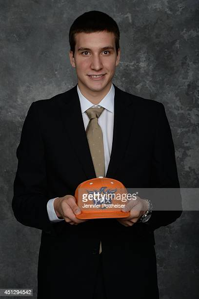 Bogdan Bogdanovic the 27th pick overall by the Phoenix Suns poses for a portrait during the 2014 NBA Draft at the Barclays Center on June 26 2014 in...