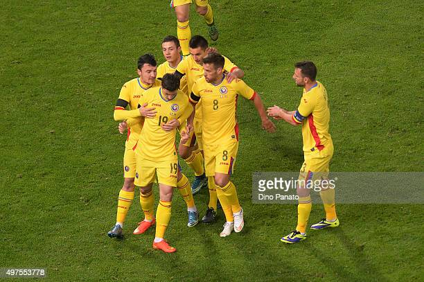 Bogdan Stancu of Romania celebrates after scoring his opening goal during the international friendly match between Italy and Romania at Stadio Renato...