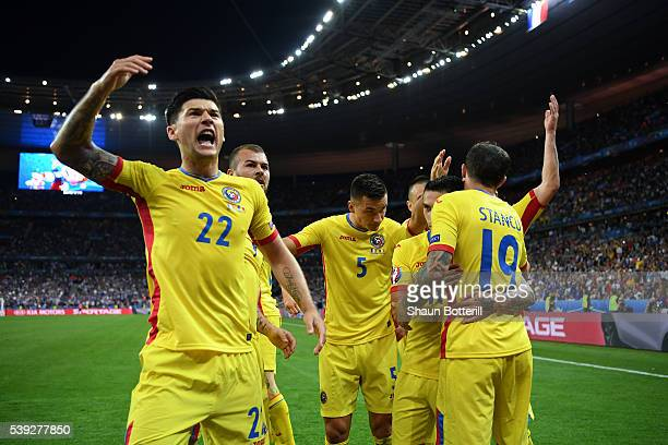 Bogdan Stancu of Romania celebrates scoring his team's first goal with his team mates during the UEFA Euro 2016 Group A match between France and...