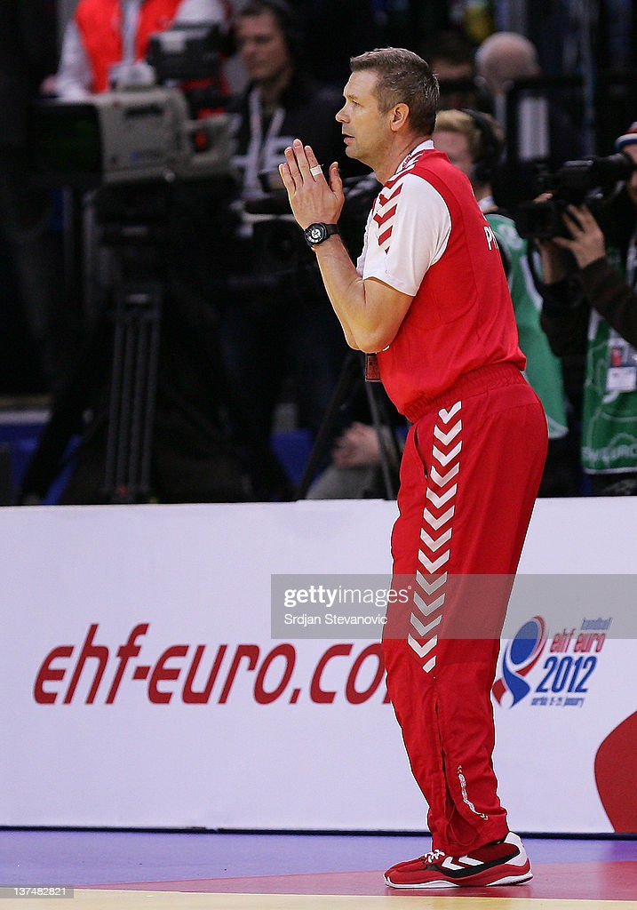 <a gi-track='captionPersonalityLinkClicked' href=/galleries/search?phrase=Bogdan+Wenta&family=editorial&specificpeople=453527 ng-click='$event.stopPropagation()'>Bogdan Wenta</a> coach of Poland react during the Men's European Handball Championship 2012 group 1 match between Poland and Sweden at Belgrade Arena Hall on January 21, 2011 in Belgrade, Serbia.