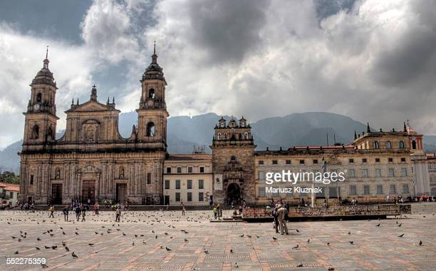 Bogota Bolivar Square on cloudy day.