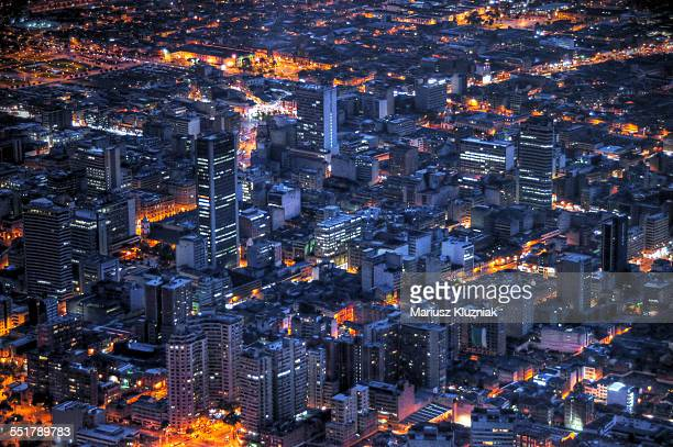 Bogota city centre aerial night view