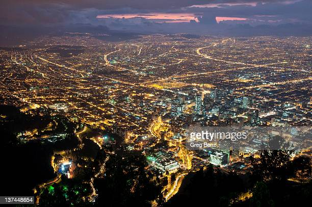 Bogota cityscape at sunset