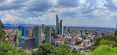 Bogota, Colombia - High angle view of the downtown district in the Andean capital city of Bogota, Colombia in South America. To the centre is the BD Bacatá, the tallest man made structure in Colombia.