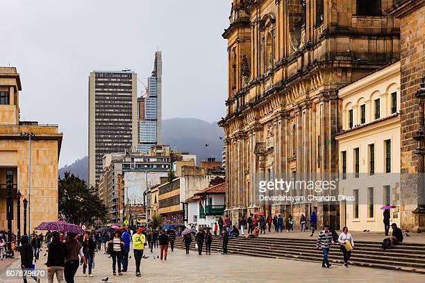 Bogota, Colombia - light rain on Plaza Bolivar