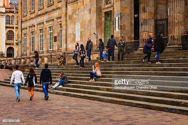 Bogota, Colombia: On the steps of the Parliament Building.
