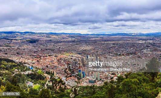 Bogota on The Andes, Panoramic View From Monserrate : Stock Photo