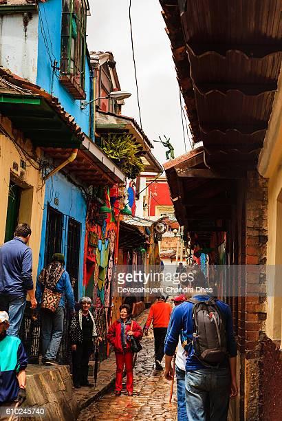 Bogota, Colombia - Tourists on Carrera Segundain La Candelaria
