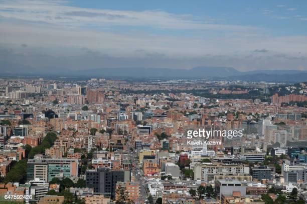 Bogota's cityscape seen from the spot known as 'Mirador de la Paloma' on La Calera road or better known as 'Mirador de La Calera' on January 12 2017...