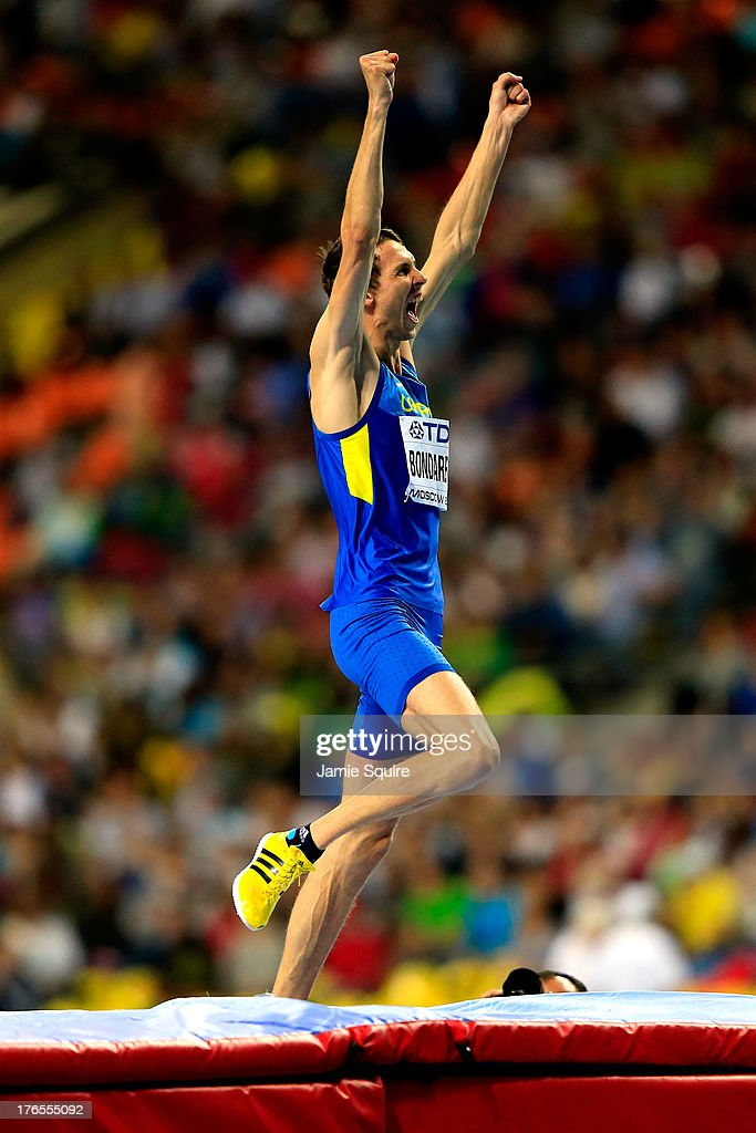 <a gi-track='captionPersonalityLinkClicked' href=/galleries/search?phrase=Bohdan+Bondarenko&family=editorial&specificpeople=5437001 ng-click='$event.stopPropagation()'>Bohdan Bondarenko</a> of Ukraine celebrates winning gold in the Men's High Jump final during Day Six of the 14th IAAF World Athletics Championships Moscow 2013 at Luzhniki Stadium on August 15, 2013 in Moscow, Russia.