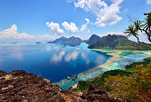 Scenic view of Bohey Dulang Islands, and ancient volcano in Tun Sakaran marine National park, Semporna, Sabah Borneo, Malaysia.