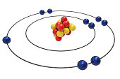 Bohr model of Fluorine Atom with proton, neutron and electron. Science and chemical concept 3d illustration
