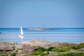 Sailing in teh archipelago. Island of Swedish west coast. Bohuslan.