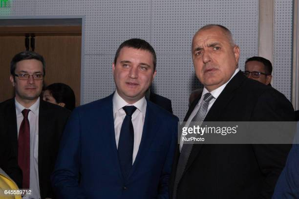 Boiko Borisov leader of Bulgarian centre right GERB party and former PM and Vladislav Goranov former minister of finance at the opening of the...