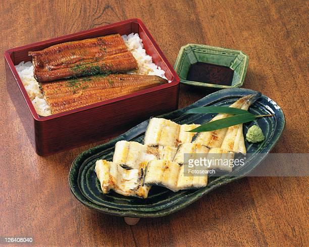 Boiled Eel Dish, High Angle View