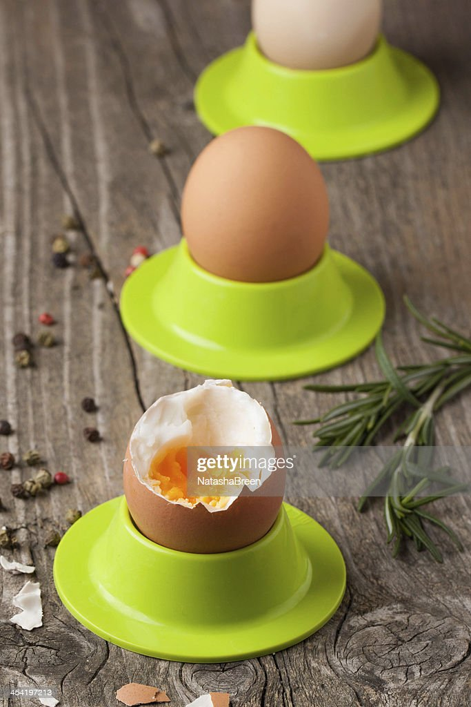 boiled eggs and rosemary : Stock Photo