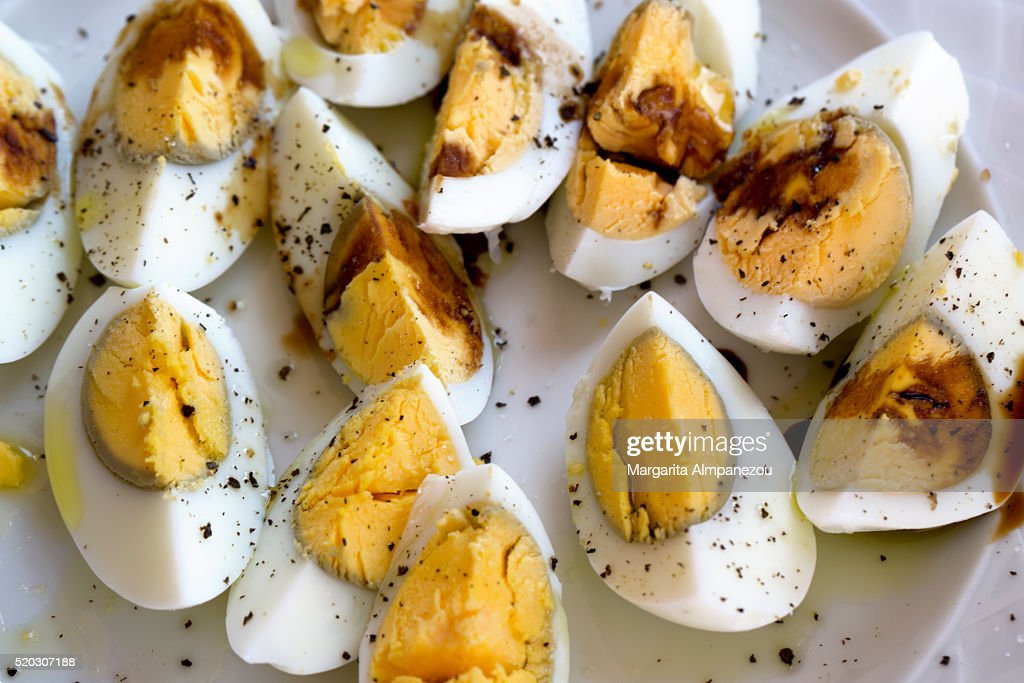Boiled Eggs Served With Pepper And Vinegar Stock Photo | Getty Images