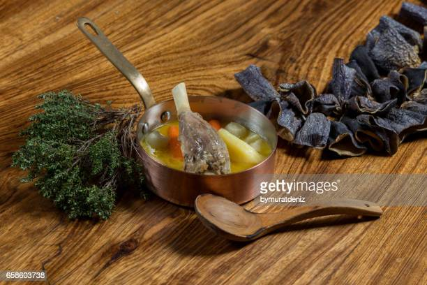 Boiled lamb boil on wood background