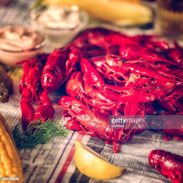 Boiled Red Crayfish with Sweet Corn and Potatoes