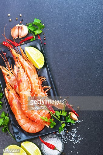 boiled shrimps : Stock Photo