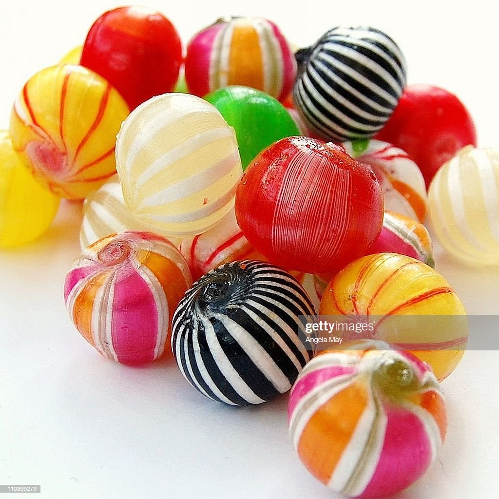 Boiled sweets and colourful candy humbugs : Stock Photo