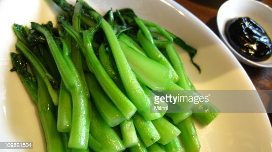 Boiled Vegetables with Oyster Sauce : Stock Photo