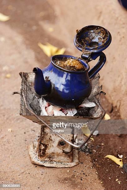 Boiling mint tea in Bamako Mali